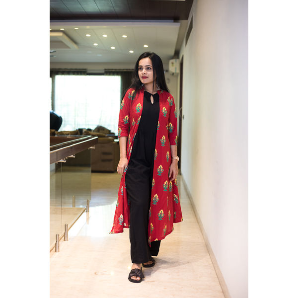 Black Jumpsuit With Red Block Print Jacket