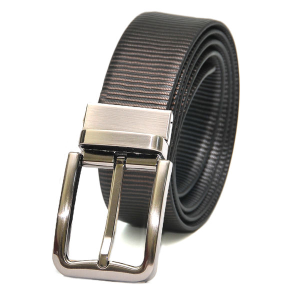 METALLIC PRINT LEATHER BELT WITH CLASSIC FRAME BUCKLE