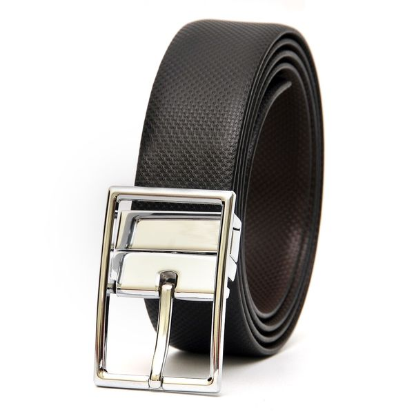 HIDEMARK STYLISH REVERSIBLE LEATHER BELT WITH TURNING BUCKLE