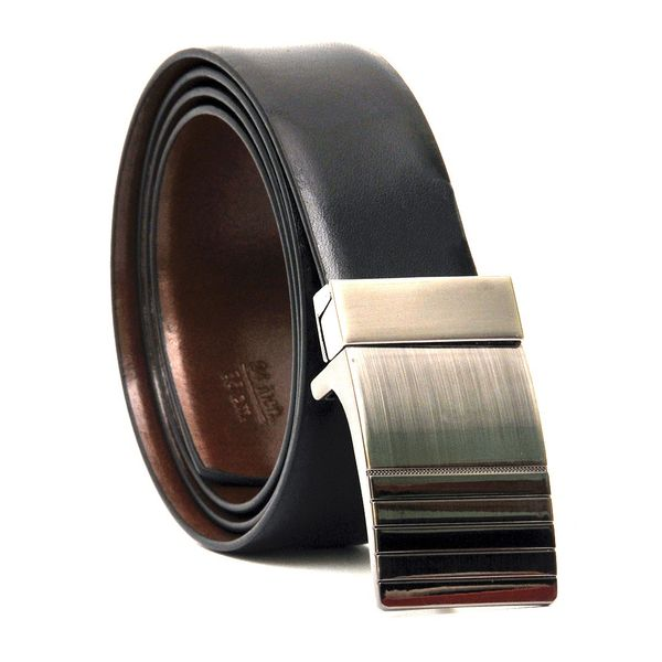 REVERSIBLE BLACK-BROWN LEATHER BELT WITH TURNING BOX BUCKLE