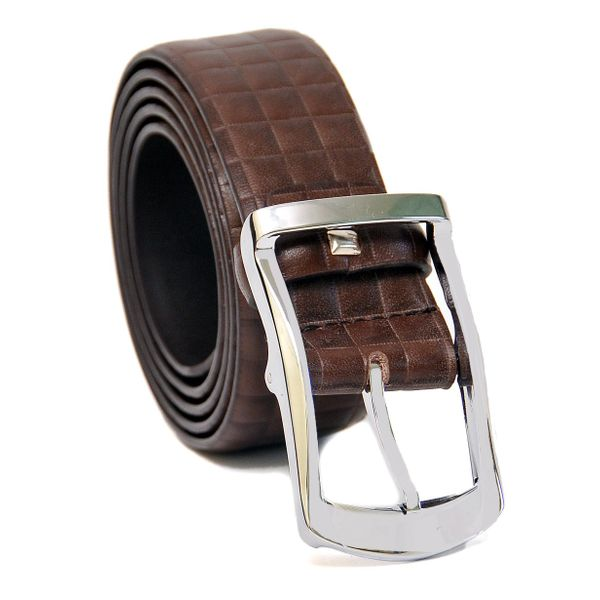 BROWN CHECKERED PATTERN LEATHER BELT