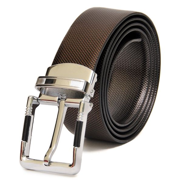 HIDEMARK REVERSIBLE METALLIC PRINT LEATHER BELT WITH DRESSY CHROME BUCKLE