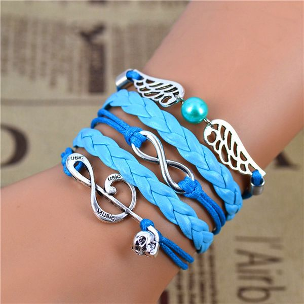 WOMEN'S GENUINE LEATHER BRACELET WITH CHARMS~ AQUA BLUE