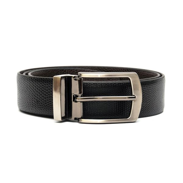 LIZARD EMBOSSED REVERSIBLE LEATHER BELT WITH FRAME BUCKLE