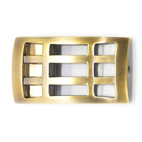 GOLD TONE GRID PATTERN BOX FRAME BUCKLE