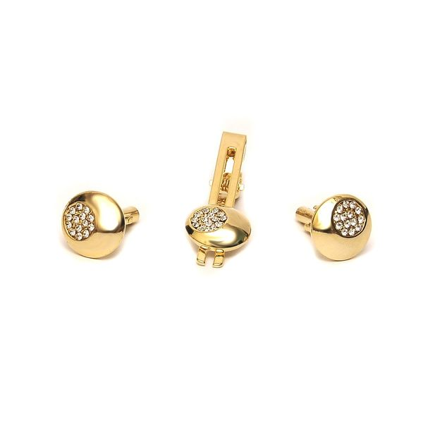 STUDDED GOLD TONE ROUND CUFFLINKS AND TIE PIN SET