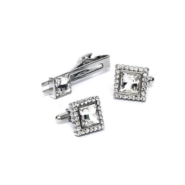 CLASSY WHITE CRYSTAL CUFFLINKS AND TIE PIN SET