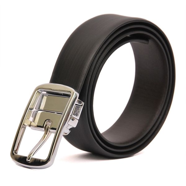 HIDEMARK REVERSIBLE BLACK-BROWN LEATHER BELT WITH STYLISH TURN BUCKLE