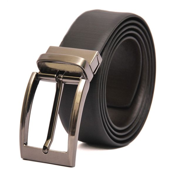 BLACK- BROWN REVERSIBLE LEATHER BELT WITH TURN BUCKLE