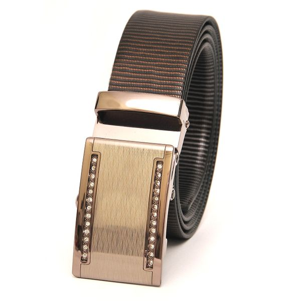 BUSINESS REVERSIBLE LEATHER BELT WITH STUDDED AUTO BUCKLE