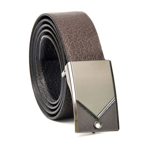 FORMAL REVERSIBLE LEATHER BELT WITH STYLISH BOX-FRAME  BUCKLE