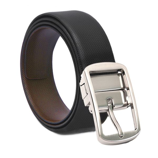 HIDEMARK REVERSIBLE BLACK- BROWN LEATHER BELT WITH TURN BUCKLE