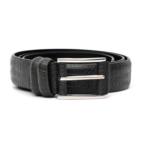 HIDEMARK ALLIGATOR PRINT BLACK LEATHER BELT