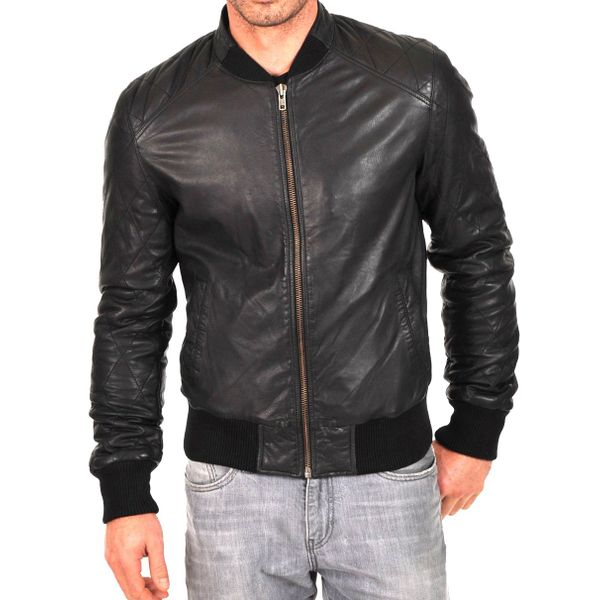 MEN'S BLACK LEATHER JACKET WITH COTTON RIBBED TRIM