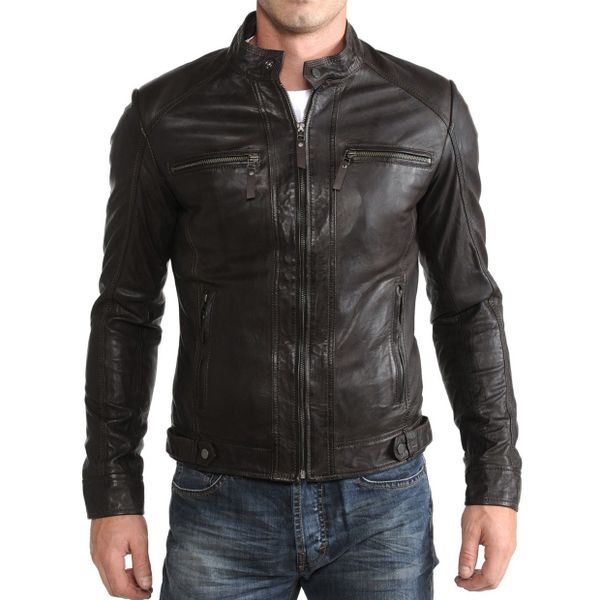 BLACK SLIM FIT LEATHER BIKER JACKET