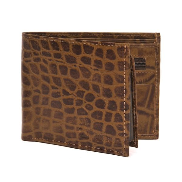 CROC PRINT BROWN LEATHER WALLET