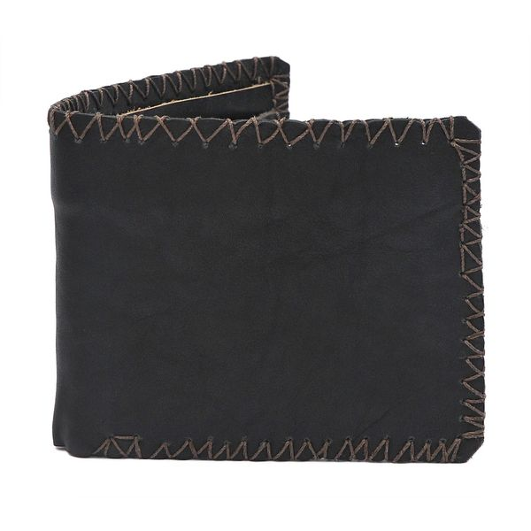 VINTAGE STYLE LEATHER WALLET - BLACK