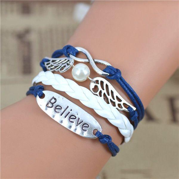 WOMEN'S GENUINE LEATHER BRACELET WITH CHARMS~ BELIEVE BLUE