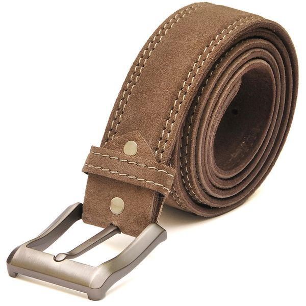 Camel Brown Suede Casual Leather Belt