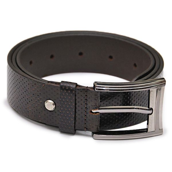 MEN'S DOTTED BROWN LEATHER BELT