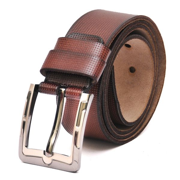 HIDEMARK REDDISH-BROWN DOTTED MENS CASUAL LEATHER BELT