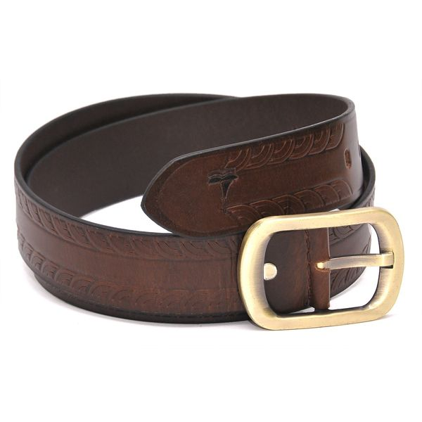 BROWN LEATHER BELT WITH STYLISH RUSTIC BUCKLE