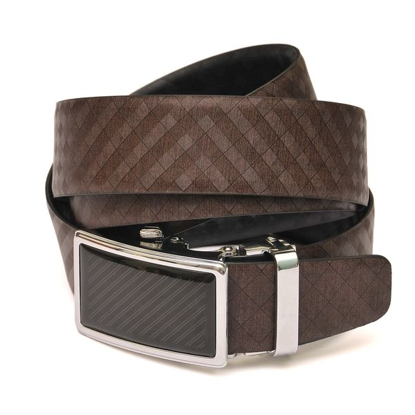 HideMark Reversible Black and Brown Checkered Leather Belt
