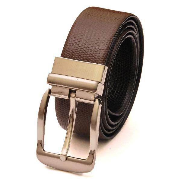 HideMark Reversible Brown and Black Leather Belt