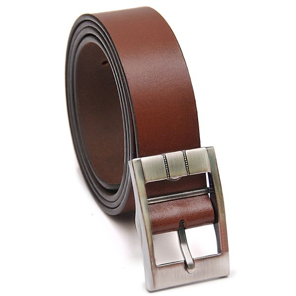Baked Earth Leather Belt with Stylish Buckle