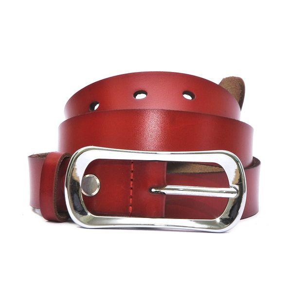 HIDEMARK LADIES LEATHER BELT CURVED BUCKLE - RED