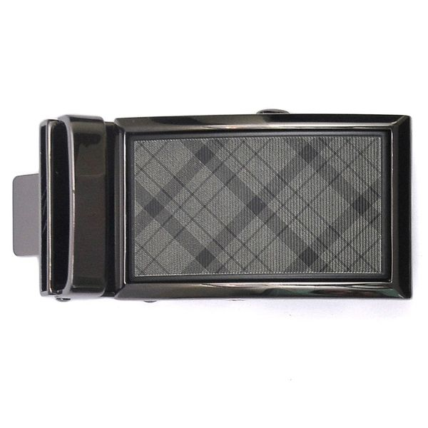 BLACK TONE AUTO LOCK BELT BUCKLE WITH GREY CHECKERED PATTERN