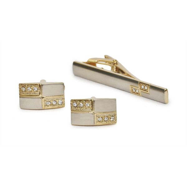 TWO-TONE STUDDED CUFFLINKS AND TIE PIN SET