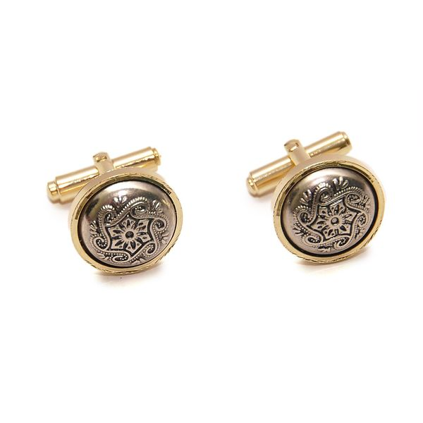 TWO-TONE ANTIQUE FINISH CUFFLINKS