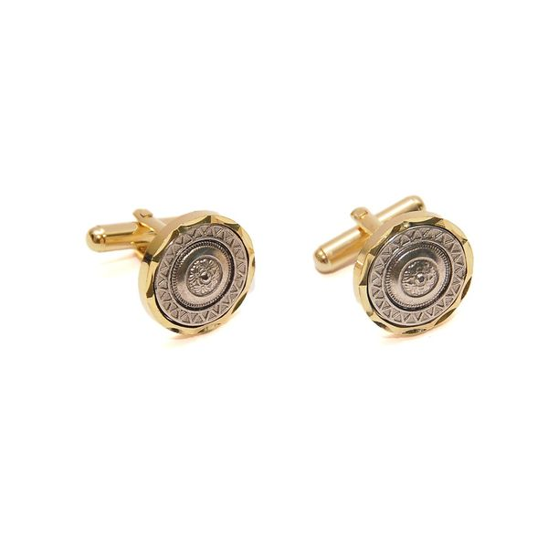 TWO -TONE ANTIQUE FINISH CUFFLINKS