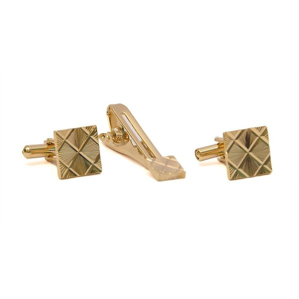VINTAGE GOLD TONE CUFFLINKS AND TIE PIN SET