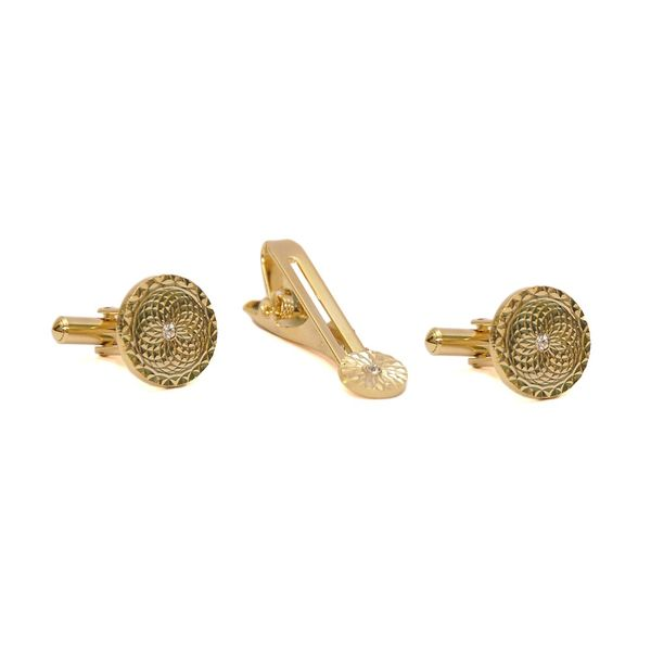 DIAMOND CUT GOLD TONE CUFFLINKS AND TIE PIN SET