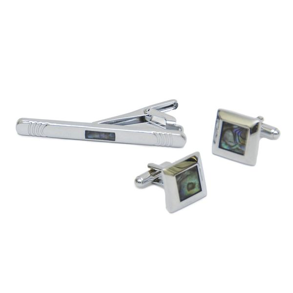 MOSAIC SQUARE CUT CUFFLINKS AND TIE PIN SET