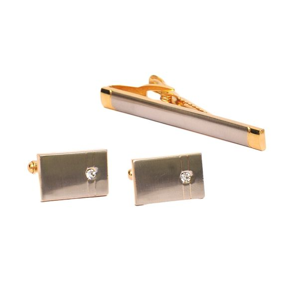 MATTE TWO-TONE CUFFLINKS AND TIE PIN SET