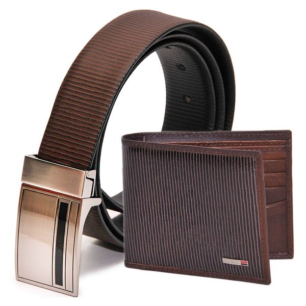 LEATHER REVERSIBLE FORMAL BELT AND WALLET COMBO