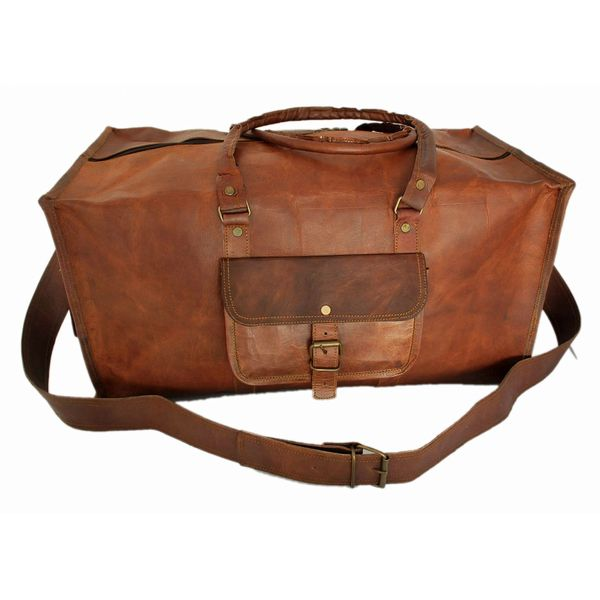 """RUSTICTOWN 22"""" HANDMADE LEATHER SQUARE TRAVEL BAG"""