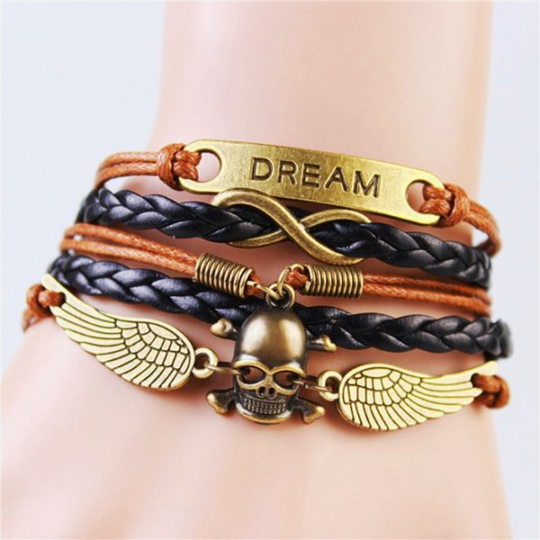 WOMEN'S GENUINE LEATHER BRACELET WITH CHARMS~ DREAM BLACK