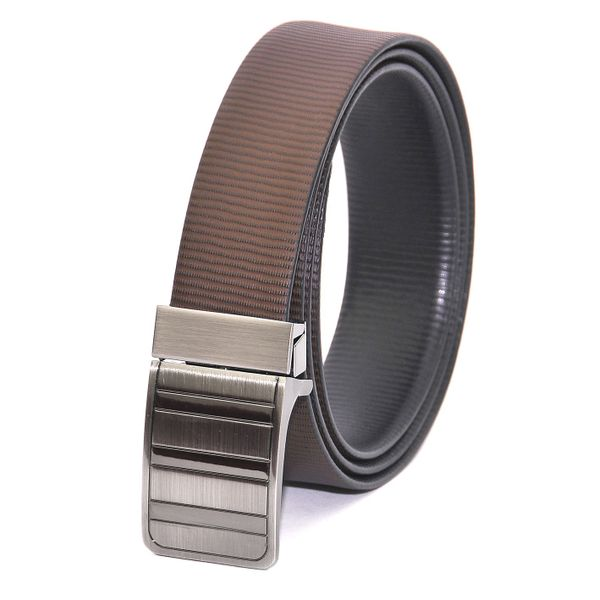 HIDEMARK BLACK BROWN STRIPES REVERSIBLE BELT WITH EXQUISITE TURNING BUCKLE
