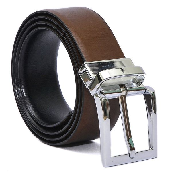 HIDEMARK BLACK- BROWN FORMAL REVERSIBLE BELT CHROME-TONE TURN BUCKLE