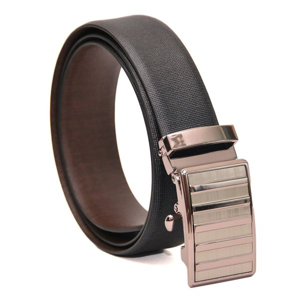 BUSINESS BLACK-BROWN REVERSIBLE LEATHER BELT AUTO BUCKLE