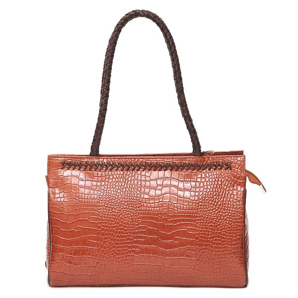 HIDEMARK CROC PRINT LEATHER LADIES HANDBAG - RUST COLOR