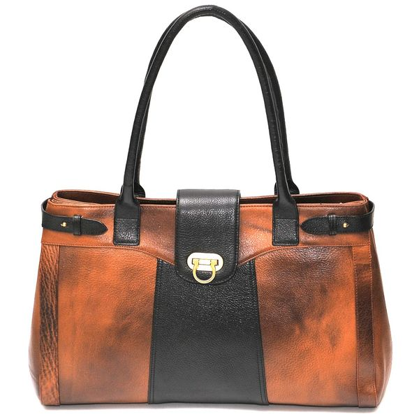 HIDEMARK GENUINE LEATHER LADIES HANDBAG IN BROWN COLOR