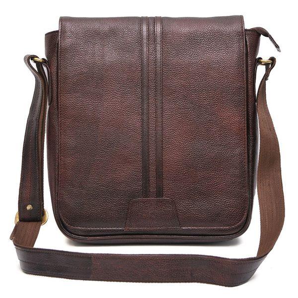TRENDY BROWN LEATHER SLING BAG