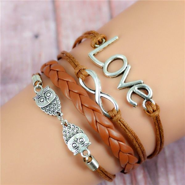 WOMEN'S GENUINE LEATHER BRACELET WITH CHARMS~ LOVE BROWN