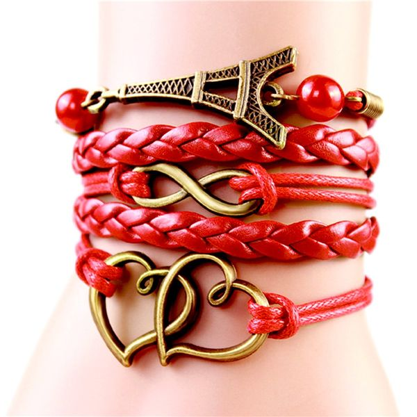 WOMEN'S GENUINE LEATHER BRACELET WITH CHARMS~RED