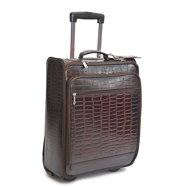CROC PRINT BROWN LEATHER TROLLEY TRAVEL BAG 21""